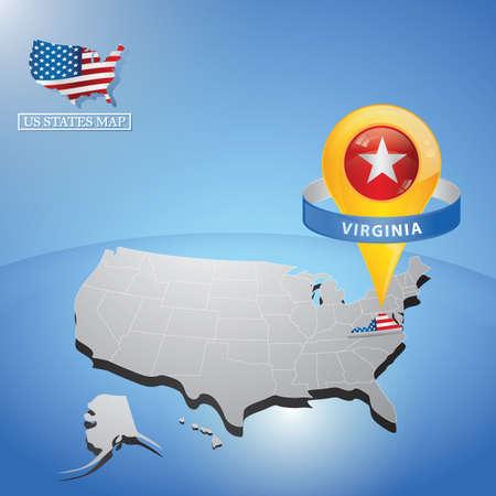 Stato della Virginia sulla mappa degli Stati Uniti Vettoriali