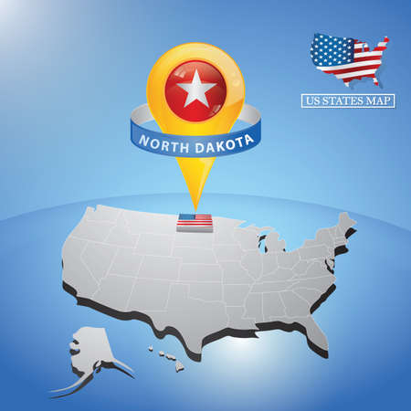 north dakota state on map of usa