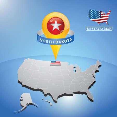 North Dakota State on mappa degli Stati Uniti