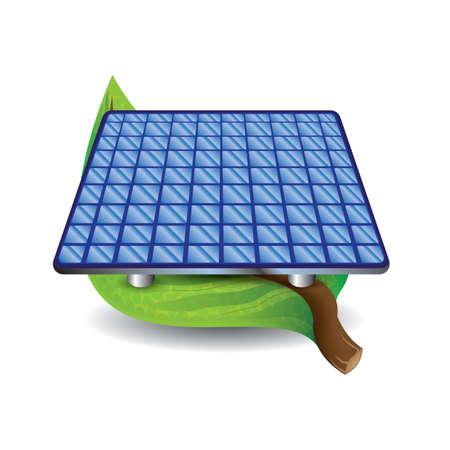 leaf with solar panel  イラスト・ベクター素材
