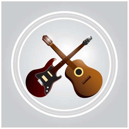 交差したギター  イラスト・ベクター素材