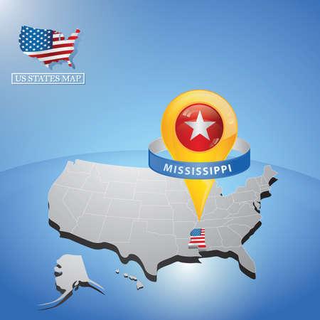 mississippi state sulla mappa di usa Vettoriali