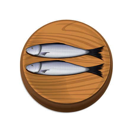 fishes on chopping board Illustration