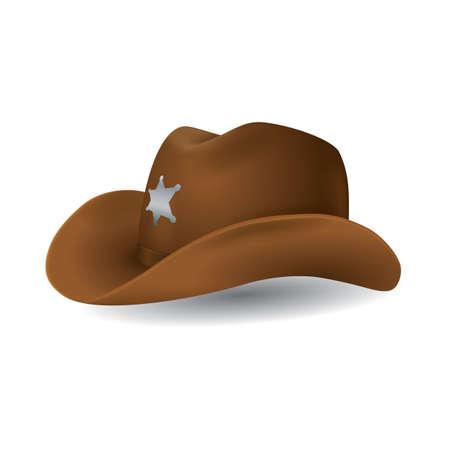sheriff leather hat Illustration