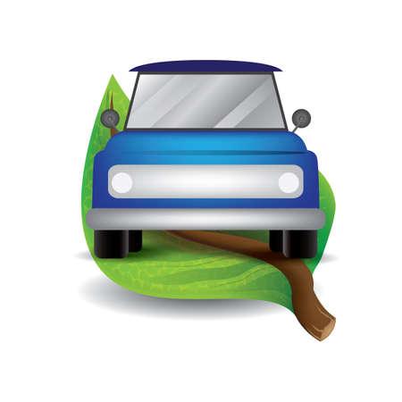 leaf with car Illustration