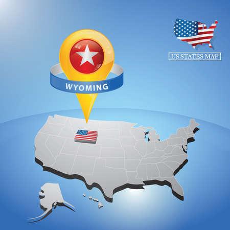 マップ上の米国のワイオミング州