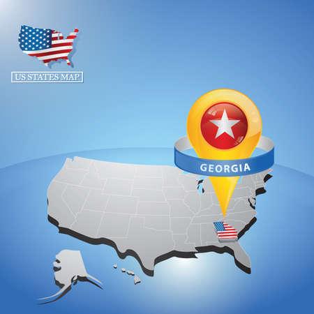 미국의지도에 조지아 주