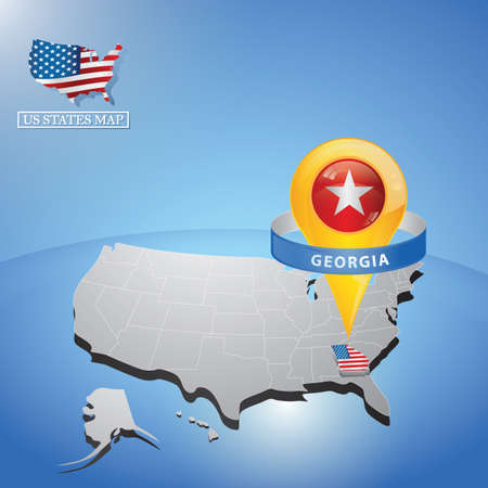 Stato di Georgia sulla mappa degli Stati Uniti Archivio Fotografico - 81486816