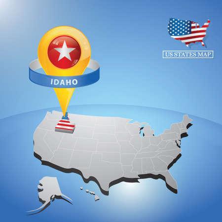 Stato del Idaho sulla mappa degli Stati Uniti Vettoriali