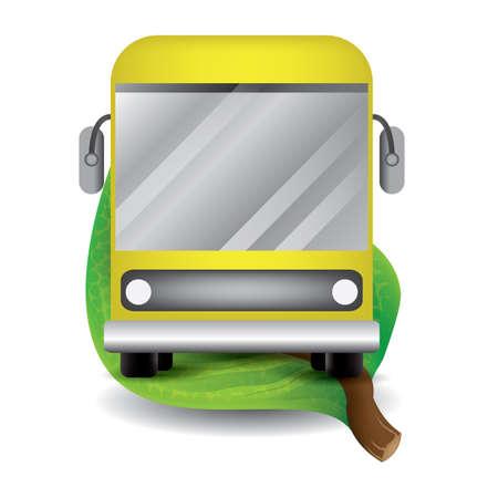 leaf with bus Illustration