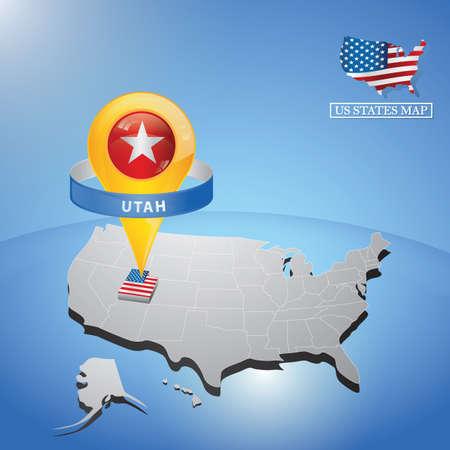 Utah State sulla mappa degli Stati Uniti Archivio Fotografico - 81486817