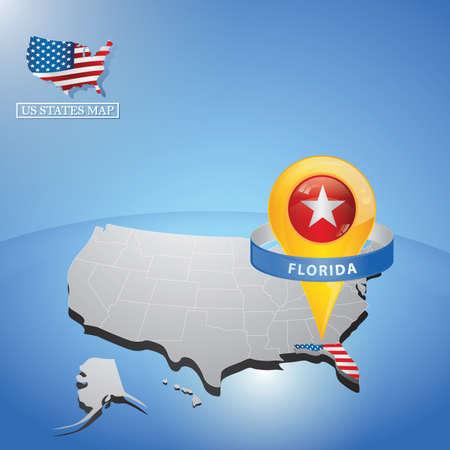stato della Florida sulla mappa di USA Vettoriali