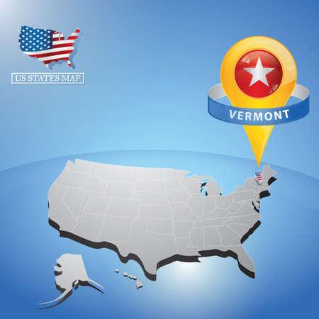 stato del vermont sulla mappa degli Stati Uniti Vettoriali