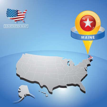 Stato Maine sulla mappa degli Stati Uniti Archivio Fotografico - 81536741