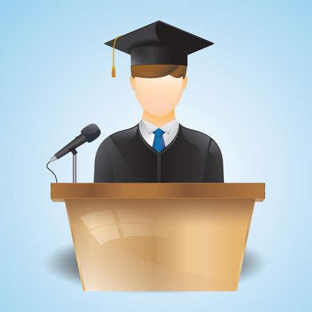 졸업식에서 연설하는 학생