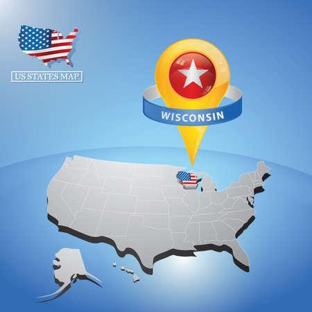 アメリカのマップ上のウィスコンシン州