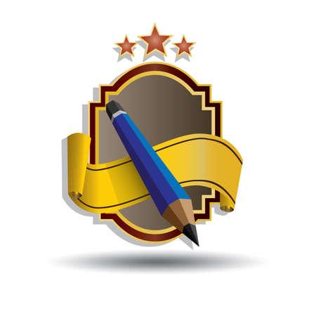 鉛筆を持つラベル  イラスト・ベクター素材