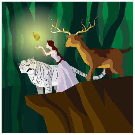 girl with animals standing on cliff Illustration