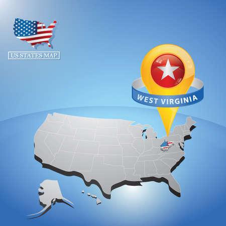アメリカ合衆国の地図西米仏状態  イラスト・ベクター素材