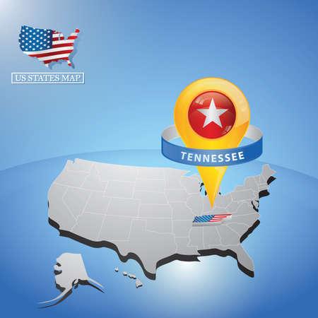 Stato Tennessee sulla mappa di USA Vettoriali