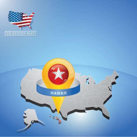 Estado de Hawaii en el mapa de EE.UU. Foto de archivo - 81536743