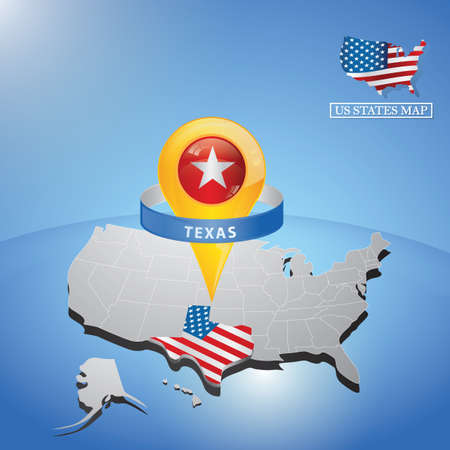 Estado de texas en el mapa de los eeuu Foto de archivo - 81486823