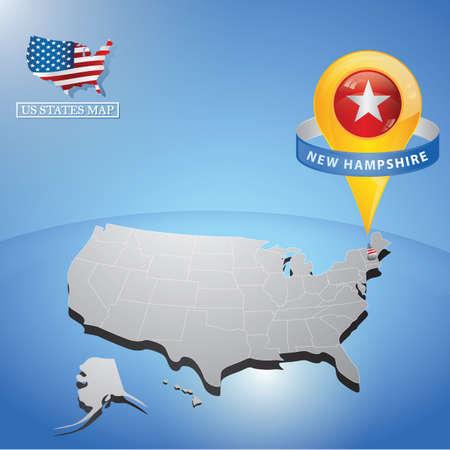 미국의지도에 새로운 햄프셔 상태