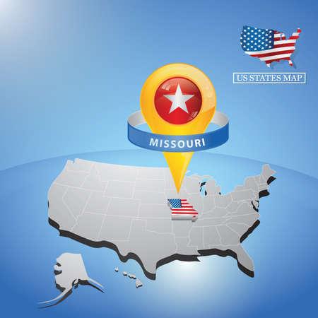미국의지도에 미주리 주 일러스트