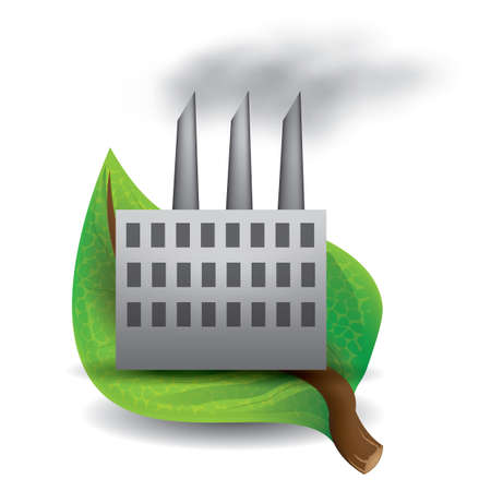 leaf with factory Stock Illustratie