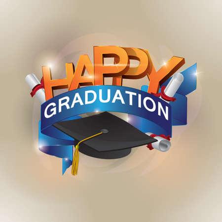幸せな卒業  イラスト・ベクター素材