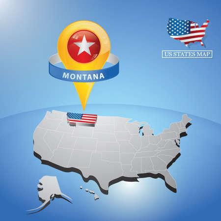 Stato Montana sulla mappa degli Stati Uniti Vettoriali