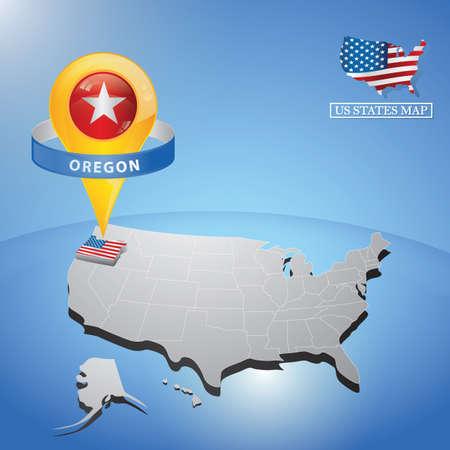 Stato Oregon sulla mappa degli Stati Uniti Archivio Fotografico - 81486829