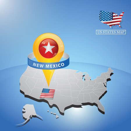 Estado de Nuevo México en el mapa de EE.UU. Foto de archivo - 81486838