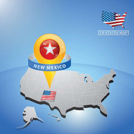 Stato del New Mexico sulla mappa degli Stati Uniti