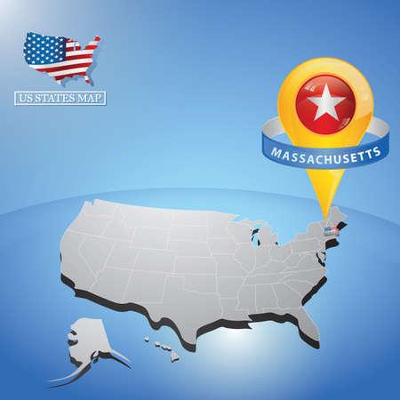 Massachusetts State on mappa degli Stati Uniti