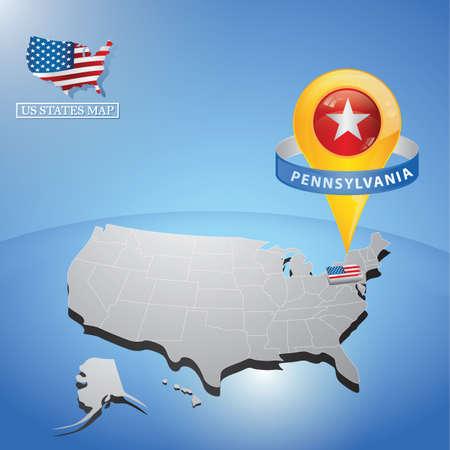 Stato della Pennsylvania sulla mappa dell & # 39 ; USA