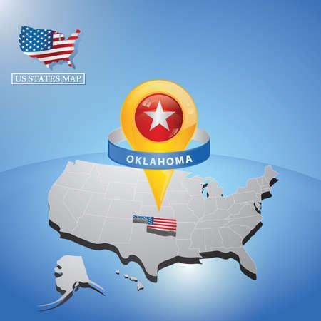 Stato di Oklahoma sulla mappa degli Stati Uniti Archivio Fotografico - 81486841