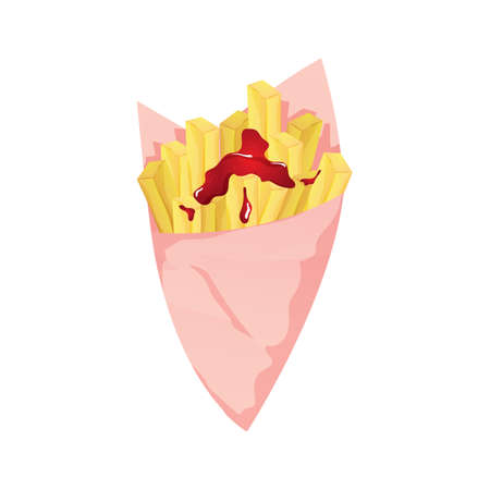 fries with chili sauce Illustration
