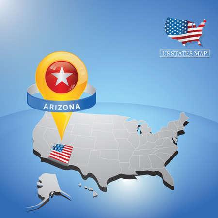Stato di arizona sulla mappa degli Stati Uniti Archivio Fotografico - 81486856