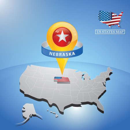 Estado de Nebraska en el mapa de Estados Unidos Foto de archivo - 81486855