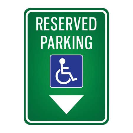 parkeerplaats gereserveerd voor uithangbord voor gehandicapten