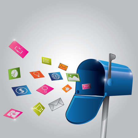 Envelopes and various concepts of icons flying out from mailbox