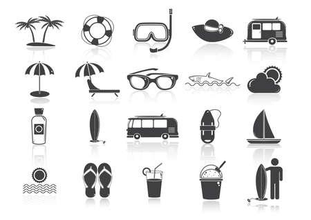 summer beach icons set