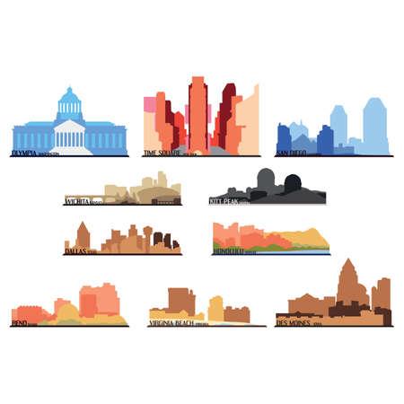 Set van Amerikaanse staat pictogrammen