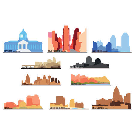 Set of american state icons