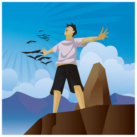 man with open arms standing on cliff