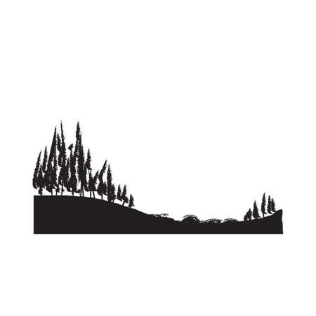 丘の上の木のシルエット  イラスト・ベクター素材