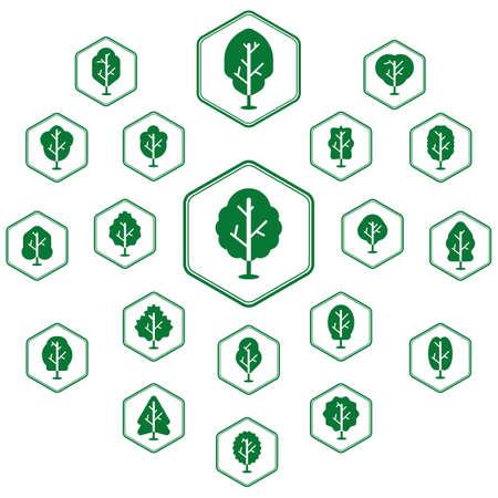verzameling van boom-iconen