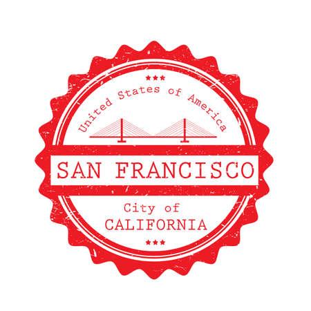 Een etiketillustratie van San Francisco.