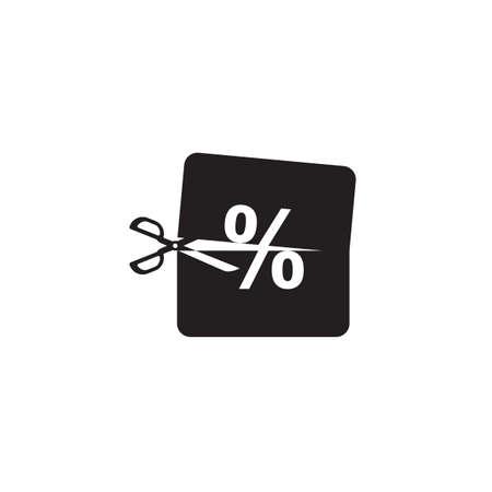 scissors cutting a percentage icon Illustration